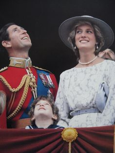 June Princess of Wales with the Queen Mother at Trooping the Colour ceremony, also Prince Charles and Princess Diana with the Royal family on the balcony of Buckingham Palace at Trooping of the Colour. Charles And Diana, Prince Charles, Prince And Princess, Princess Of Wales, Real Princess, Prince Harry, Trooping Of The Colour, Camilla Parker Bowles, Diana Fashion