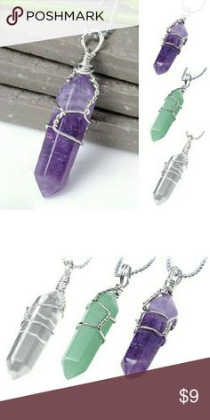 Crystal Quartz Pendant Green, purple or clear. Alloy metal. Pendant only, no chain. Jewelry Necklaces