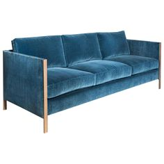 Armstrong Sofa with Blue Cotton Velvet and Silicon Bronze Frame