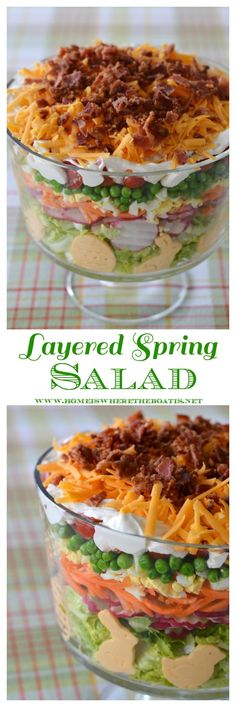 Layered Spring Salad! A make-ahead recipe and flavorful salad for your potluck, family gathering or barbecue! | http://homeiswheretheboatis.net #Easter