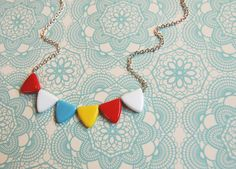 i have this necklace and absolutely love it.its colors remind me of a beach ball, and that makes me pretty happy. Bunting Flags, Pennant Banners, My Daughter Birthday, To My Daughter, A Little Party, Vintage Carnival, Czech Glass Beads, Decorative Accessories, Party Time