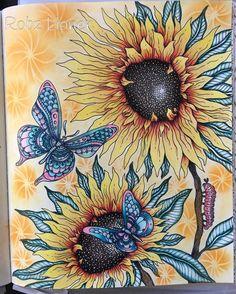 Sunny sunflowers #robzlipner #sommarnatt #hannakarlzon #art_e_colorir #bayan_boyan #panpastel #daydreamscolouring #colouringbook