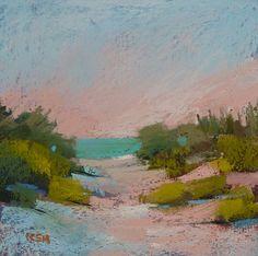 Landscape Painting Cape Cod Beach Dunes  ART Original Pastel Painting 6x6 via Etsy