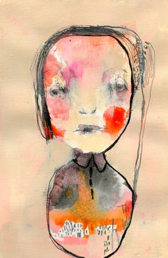Original Painting - Textured Portrait Painting, Painting on Paper, With Simple Illustration -Good Conduct by ChristinaRomeo on Etsy