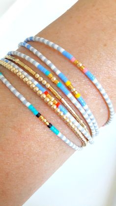 Friendship bracelets, new summer seed bead bracelets, pura vida , miyuki delica bracelet stack