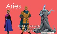 Zodiac signs as Disney heroines, heroes, and villains.