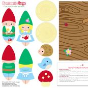 stuffed animal soft toy Gnome Dolls with Log Traveling Case by fantastictoys, click to purchase fabric