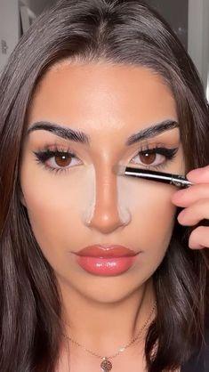 Nose Makeup, Contour Makeup, Prom Makeup, Makeup Tutorial Eyeliner, Makeup Looks Tutorial, Gorgeous Makeup, Pretty Makeup, Glamour Makeup, Beauty Makeup