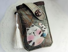 Phone Cases – Fatty Cat Mobile Phone Pouch for Galaxy Note 2 – a unique product by lilyhandmade on DaWanda