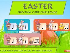 Easter Rhythm Codes is a flexible interactive tool. It can be used as a clapping the rhythm tool, a warm up rhythm exercise or a spot the difference exerci. Teaching Resources, Musicals, Challenges, Coding, Easter, Easter Activities