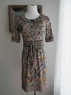 MAX and CLEO Multi-color Abstract & Striped Polyester Blend (?)  Dress Size S #MaxandCleo #Career #WeartoWork
