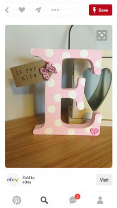 Personalised Freestanding Wooden Letter Initial Gift Baby Boy Girl Shabby Chic in Home, Furniture & DIY, Home Decor, Plaques & Signs Wooden Letter Crafts, Diy Letters, Wood Letters, Wood Crafts, Fun Crafts, Diy And Crafts, Decorated Wooden Letters, Scrabble Letters, Baby Boy Gifts