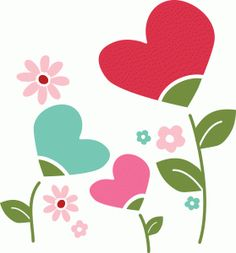 Silhouette Online Store - View Design #54489: heart flowers