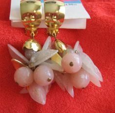 Pair Lucite Pink Berries Dangle Vintage Clip by resurrections, $15.97
