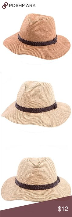 🆕Faux Leather Braid Band Straw Fedora Hat Faux Leather Braid Band Straw Fedora Hat CA Lead and Nickel Compliant Product Adult Only  🔺Firm price 🔺 Accessories Hats