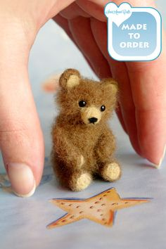 Brown teddy bear miniature OOAK Needle felted soft sculpture original handmade for doll house / by SaniAmani