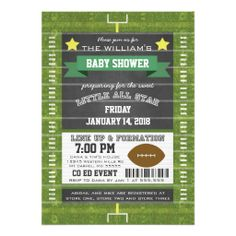 Couples Co-Ed Football Baby Shower Green Announcements