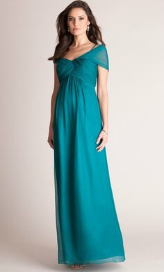 Emerald green formal maternity gown