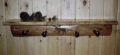 Rustic Log Slab Coat Hanger with Shelf & Railway by RusticNorthern, $75.00