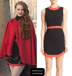 Cheryl Blossom / Madelaine Petsch Red trim black dress by Alice + Olivia in of Riverdale - La Grande Illusion Cheryl Blossom Riverdale, Riverdale Cheryl, Fall Fashion Trends, Autumn Fashion, Cheryl Blossom Aesthetic, Classy Outfits, Cute Outfits, Riverdale Fashion, Fashion Outfits