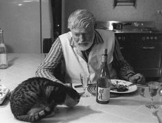 Ernest Hemingway et son chat.