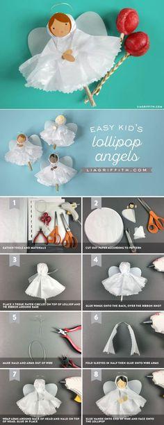 Tissue Paper Angels DIY Kid's Holiday Craft - www.LiaGriffith.com #kidscraft #holidaycraft #holidaydiy #christmasdiy #diyangel