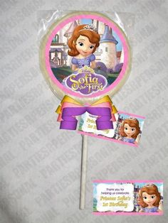 Sofia the First Personalized Chocolate Lollipop or Cookie Favor | PartiesRPersonal - Edibles on ArtFire