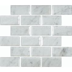 Greecian White Polished Beveled Marble Mesh-Mounted Mosaic Tile - Home Depot, $10.97 per foot
