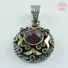 Ruby Agate Stone 925 Sterling Silver Pendant by JaipursilverindiaCo on Etsy