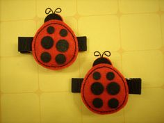 Ladybug Duo  Black and Red Felt Girls Hair by PunkyPunkinCreations, $3.50