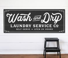 Wash and Dry Laundry Service Co – Canvas or Wood & Planked, Wash Dry Fold Vintage Room Est Established Decor Farmhouse Rustic Design Company - Modern Laundry Room Art, Laundry Room Signs, Laundry Room Storage, Basement Laundry, Laundry Decor, Laundry Closet, Vintage Laundry Rooms, Laundry Hanger, Laundry Shop