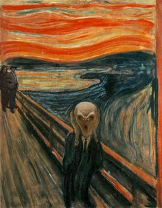 """Silence Scream. I thought this was just the regular painting and said, """"hey, I've realized that this guy looks like the Silence,"""" and then I clicked on the picture, and said """"hey! it is the Silence! with Amy and The Doctor with his stetson in the background!"""""""