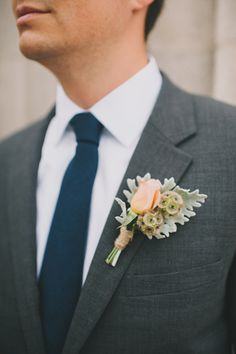 Tulip/ Dusty Miller/ Scabiosa pods boutonniere - Santa Monica Garden Wedding captured by Heidi Ryder - via ruffled