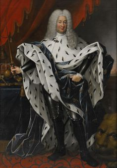 It's all power in this portrait of Frederick I (1676-1751), King of Sweden, Landgrave of Hesse-Kassel wearing cuirass and hermelinbrämad dark blue jacket in interior with regalia. Signed and dated JA Weise, 1737. Frederick I (1676 - 1751) is one of Sweden's most anonymous(!) kings. Brother of Charles XII and husband to Ulrika Eleonora, he conquered the Swedish krona and introduced to the House of Brabant in Sweden. [translated text]. And let's throw in an over-sized lion's head for good…