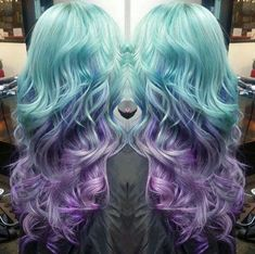 turquoise+into+lavender+long+ombre+hair