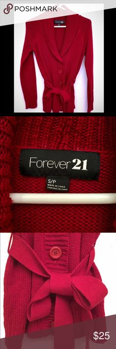 Cozy Belted Sweater Long button up sweater with removable matching belt to tie at the waist. Forever 21 Sweaters
