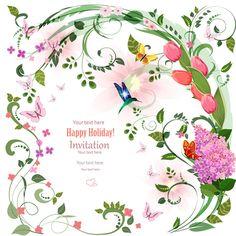 Flower holiday invitation cards vectors 02