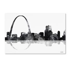 This ready to hang, gallery-wrapped art piece features a black and white painted skyline of the Gateway Arch in St. Louis, Missouri. Born in Scotland and now residing in Hong Kong, Marlene Watson has