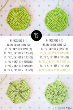 hexagono VS circulo en crochet