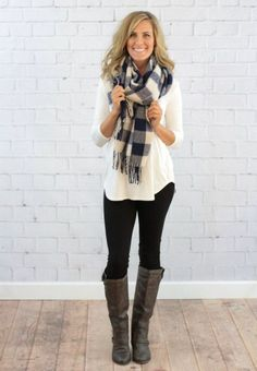 navy & white blanket scarf outfit with scarf, black leggings outfit fall, outfits Preppy Outfits, Winter Fashion Outfits, Mode Outfits, Fall Winter Outfits, Look Fashion, Womens Fashion, Casual Winter, Cozy Winter, Feminine Fashion