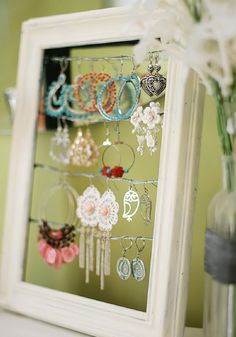 Use an old frame to store jewelry!