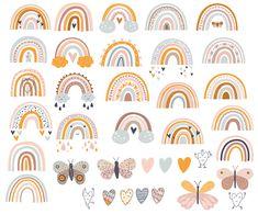 Rainbow Nursery, Rainbow Theme, Rainbow Art, Rainbow Clipart, Baby Clip Art, Rainbow Wallpaper, Bullet Journal Themes, Aesthetic Stickers, Cute Stickers
