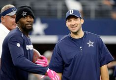 Bengals vs. Cowboys:    October 9, 2016  -  28-14, Cowboys  -    Dallas Cowboys' Dez Bryant, left, and Tony Romo, right, both injured, stand on the field watching warmups before an NFL football game against the Cincinnati Bengals on Sunday, Oct. 9, 2016, in Arlington, Texas.
