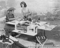 Vintage Teardrop Trailer Campers Chuck Wagon Plans Folding Camp Kitchen