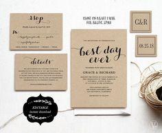 Printable Wedding Invitations Template DIY Kraft by VineWedding