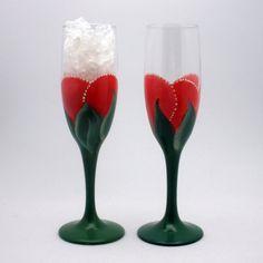 Elegant hand painted dark pink flute wine glasses painted as a rosebud by PaintedDesignsByLona,