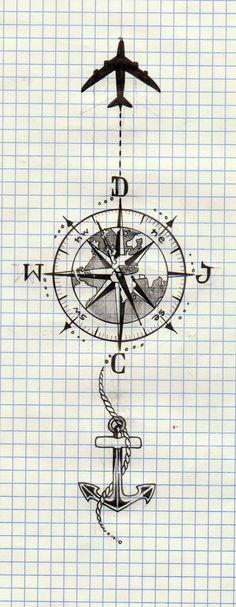 Tatouage qui représente le tour du monde tout en ayant un pied à terre près de la mer ⚓️✈️❤️