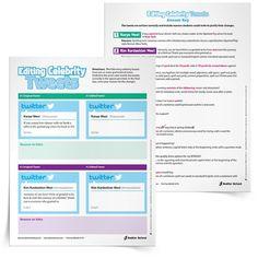 Use Celebrity Tweets for Editing Practice, Grades 7–12 www.CoreGrammarBlog.com sponsored by Sadlier School