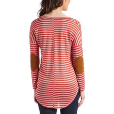 Casa Lee Red & Gray Stripe Elbow Patch Tee ($17) ❤ liked on Polyvore featuring tops, t-shirts, red stripe t shirt, gray tee, grey tee, long t shirts and stripe tee