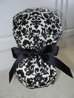 Turn Up Ponytail Scrub Hat with Day Night Damask by juliesthings, $17.50